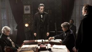 President Lincoln (Daniel Day-Lewis) forcefully telling his cabinet that he intends to proceed with the amendment and that they must help him.