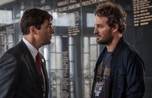 CIA agent Dan (Jason Clarke) arguing with his and Maya's boss, Joseph (Kyle Chandler), as he tries to help Maya in anyway he can.