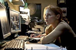Maya (Jessica Chastain), baggy-eyed as she watches countless interrogations of detainees in her attempts to find a lead to Osama Bin Laden's location.