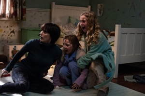 Annabel with Lily and Victoria, as they realise, with horror, that 'Mama' has come to pay them a visit.