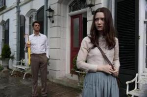 Charlie (Matthew Goode) watching look like a stalker as his niece, India (Mia Wasikowska), walks to school.
