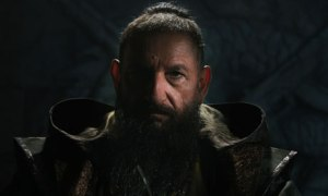 The Mandarin (Ben Kingsley), looking and preaching much like Osama Bin Laden, in a broadcast threatening to destory America if the country does not change its ways.
