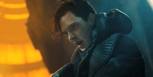 The villain, John Harrison (Benedict Cumberbatch), fighting against his adversaries who are out to kill him.