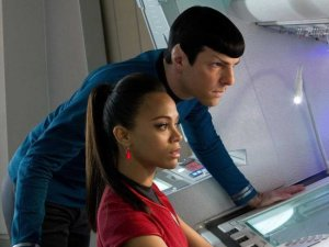 Commander Spock (Zachary Quinto) talking with his girlfriend, Uhura (Zoe Saldana).