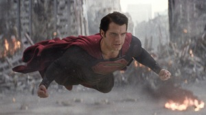 Superman, flying in to save the city and the people from General Zod.