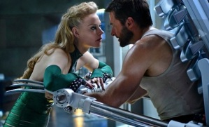 Logan attempting to fend off the allure/threat of the sexy Viper (Svetlana Khodchenkova), one of several ambiguously-motivated, peripheral villains in the film.