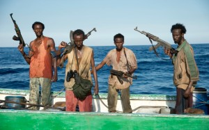 The pirates on their little speed boat, eager to seize Maersk Alabama and gain a reward for it back in Somalia.