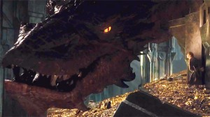 Smaug (voiced by Benedict Cumberbatch), usurper and desolator of Erebor, awakening from his slumber to reveal his awe-inspiring (and frightening) size.