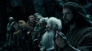 Thorin (Richard Armitage), Balin (Ken Scott) and Dwalin (Graham McTavish, furthest left) looking for a the secret entrance.