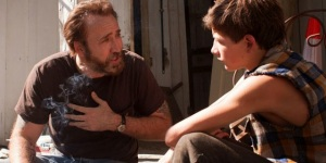 Joe (Nicolas Cage) giving some good, worldly advice to young Gary (Tye Sheridan).