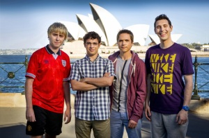 Jay (James Buckley), Will (Simon Bird), Simon (Joe Thomas) and Neil (Blake Harrison posing in front of Sydney Harbour to prove that they actually did go to Australia.