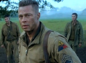 Sergeant 'Wardaddy' Collier (Brad Pitt) thinking over a key decision that he has to make.