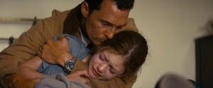 Cooper saying goodbye to his little daughter, Murphy (Mackenzie Foy) before he goes on the mission.