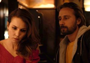 Nadia, looking good but ditressed with Eric Deeds (Matthias Schoenaerts) at Cousin Marv's.
