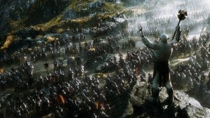 Azog the Defiler (Manu Bennett) roaring an army of orcs toward the Lonely Mountain to kill the dwarves and everyone else.