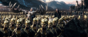 Bard (Luke Evans) on a mule and the King of the Elves, Thranduil (Lee Pace), on a... reindeer? Anyway, they have arrived among an army of elves and men to claim their shares of the treasures in the Lonely Mountain.
