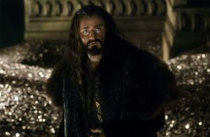 Thorin (Richard Armitage) looking for the Arkenstone within a vault of gold so deep he could swim in it like Scrooge McDuck.