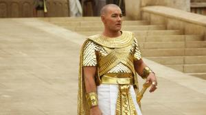 Pharaoh Rameses II (Joel Edgerton), the villain of the Exodus story, looking splendid and glorious.