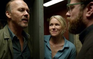 Zach Galifianakis (Jake) reassuring Riggan (Michael Keaton) and Leslie (Naomi Watts) that the production is going well when it's not.