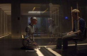 Caleb having one of his sessions with Ava (Alicia Vikander), to determine if Ava has human-like consciousness.