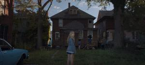 Jay and her friends going into an abandoned, derelict house. Why? Because that's what people do in horror films.