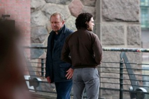 Harry (Peter Firth) convincing Will Holloway (Kit Harington), an ex-agent, to trust him and to rejoin M:I-5.