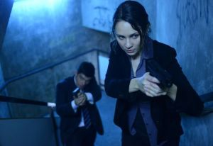 June (Tuppence Middleton), an M:I-5 agent, going in with a fellow agent to take out some terrorists.