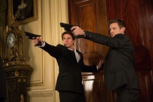 Ethan Hunt (Tom Cruise) and William Brandt (Jeremy Renner) working together to uncover the Syndicate.