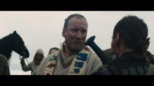 Macbeth greeting Duncan (David Thewlis) upon the latter's arrival at Cordor.