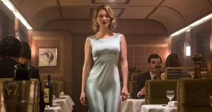 Dr Madeleine Swann (Léa Seydoux), looking glamorous, joins Bond for dinner.
