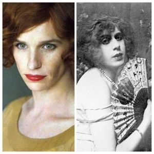 On the left, Eddie Redmayne's Lili as seen in the film; and on the right, the real Lili Elbe.