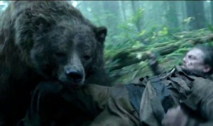 Hugh Glass (Leonardo DiCaprio) being mauled by a bear during the expedition.