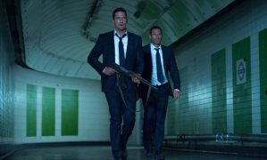 Mike Banning (Gerard Butler) running through the evacuated London underground trying to get President Asher (Aaron Eckhart) to safety.