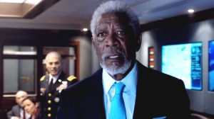 Vice President Trumbull (Morgan Freeman) watching in horror as the known landmarks of London going up in smoke.