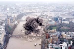 The London Eye, one of the capital's known landmarks, is blown up in the terror attacks.