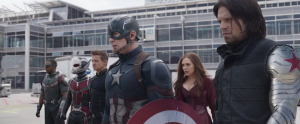 Captain America (centre) and his side of the civil war, consisting of Bucky (Sebastian Stan), Scarlet Witch (Elizabeth Olsen), Hawkeye (Jeremy Renner), Anti-Man (Paul Rudd) and Falcon (Anthony Mackie).