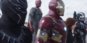 Team Iron Man, consisting of Black Panther (Chadwick Boseman), Iron Man (Robert Downey Jr), Vision (Paul Bettany), Black Widow (Scarlett Johansson) and War Machine (Don Cheadle). Spiderman (Tom Holland) is also on Team Iron Man, but he is not in the picture.