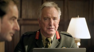 Lieutenant General Frank Benson (Alan Rickman) listening to the arguments for and against launching a drone strike, while waiting for permission to launch it.