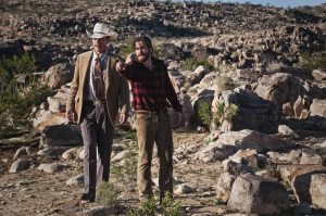 Tony (Jake Gyllenhaal, who also plays Edward) and detective Bobby (Michael Shannon) in the rocky plains in the middle of nowhere in Texas, searching for the scene of the crime.