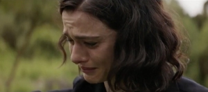 A distraught Hannah (Rachel Weisz) looking for her husband and daughter. They disappeared at sea and no-one has seeing them since to her knowledge.