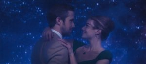 Sebastian and Mia happily dancing (as everyone is wont to do in La La Land), while looking lovingly into each other's eyes.